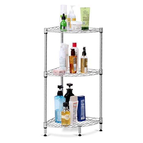 LANGRIA Standregal 3 Ablage Eckregal für Wohnzimmer Badezimmer Küche Büro-Garage, 66 lbs Gewicht Kapazität, 11,8 'x 11,8' x 27,6 ', Silber