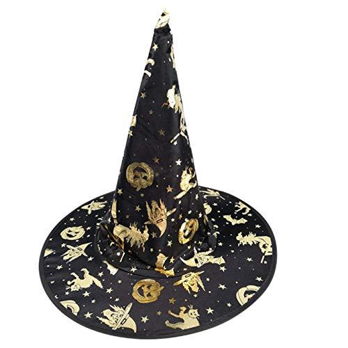 yjhdjyyj Halloween Hexe Hut schickes Kleid Kostüm Cap Party Hat Dress Up Party Halloween Party Zubehör(None Gold)