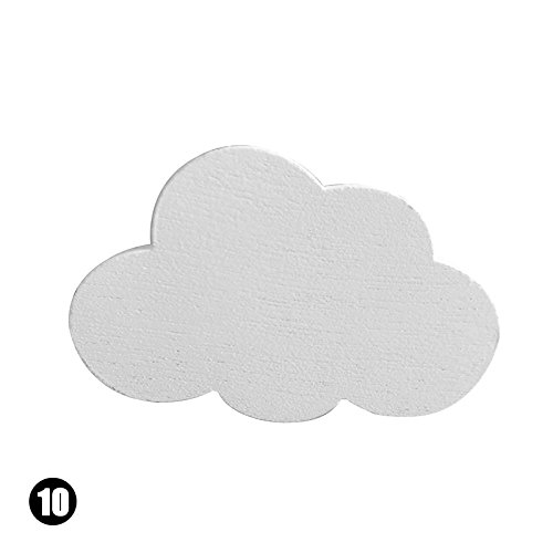 Rustikale Metall-5 Stück (rungao Holz Kleidung Haken Raum Wand Kinder Zimmer Kleiderbügel Haken Wolkenweiß)