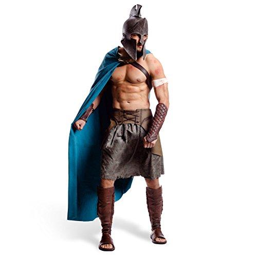 Deluxe Kostüm Gladiator - 300 Themistokles Deluxe Film Kostüm Griechen Kostüm Herren 6-tlg Helm Umhang Gürtel Rock Armschienen Beinschienen - XL