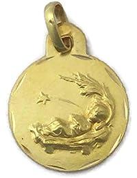Medalla Escapulario de Oro de 18 Klts de Niña J. Luis J.L-MED-021 (Niño Jesús y Ángel de la Guarda)