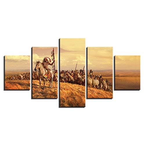 zhenfa Mensch und Wolf 5-in-1 Collage rahmenlose 5 Kombination hängen Gemälde (CAN-in doppelseitigen Klebstoff, wie fixiert oder pic Ture Frame straffe Federung)
