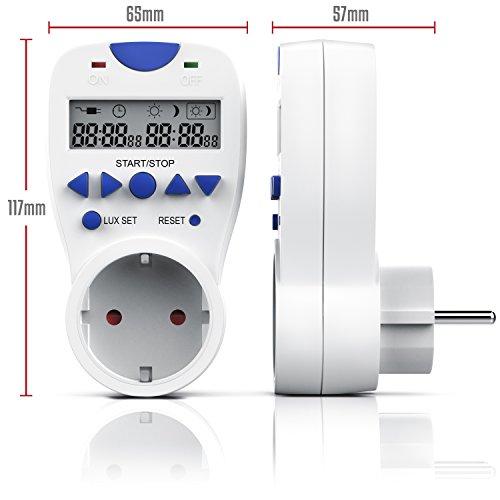 CSL – Countdown Timer inkl. Lichtsensor | 3680W | Countdown Zähler für die Steckdose | Tag/Nacht-Erkennung | 3 Betriebsmodi On/Off/Timer | Kindersicherung | energieeffizient - 3