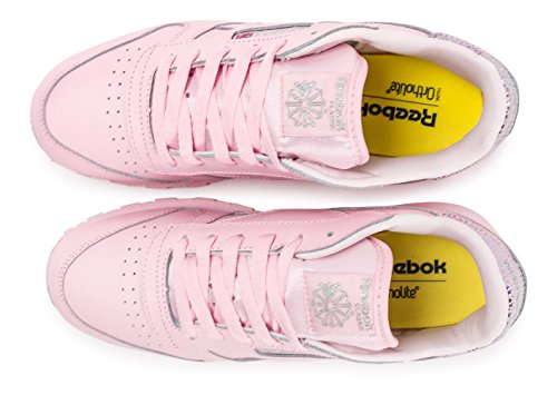 Reebok Classic Leather Metallic Fille Baskets Mode Rose pink