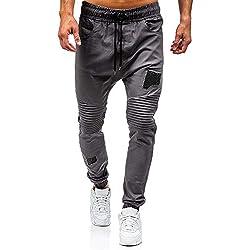 MCYs Jogging Hommes Pantalon de Sport Jogger Homme Survêtement Coton Slim Fit (Gris-B, M)