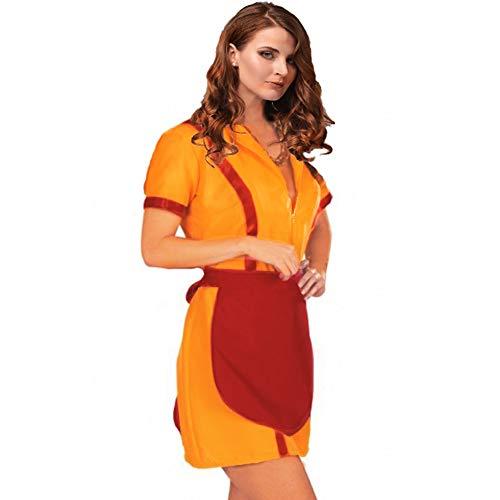 (Krause & Sohn Diner-Girl Gr. S- XL Kleid gelb mit Schürze rot Kostüm (M))