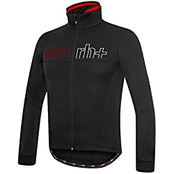 RH + omegaairx Shell, Chaquetas Impermeables (Ciclismo) Hombre, Black-Red, XXL
