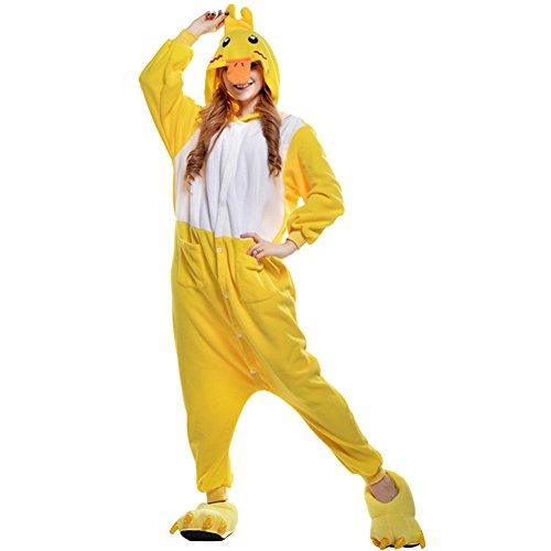 Amurleopard Damen/Herren Jumpsuit Kostüm Schlafanzug Pyjamas Einteiler, Ente Gelb, L( Körpergröße: 170-178 CM) (Kostüm Einteiler Schlafanzug)