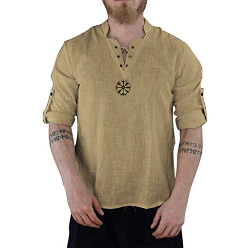 Aoogo Leinenhemd Freizeithemd Herren Mittelalter Hemd T-Shirt Langarm Kurzarm Fisherman Sommerhemd Leinen Baumwolle Yoga Hippie Shirt Top