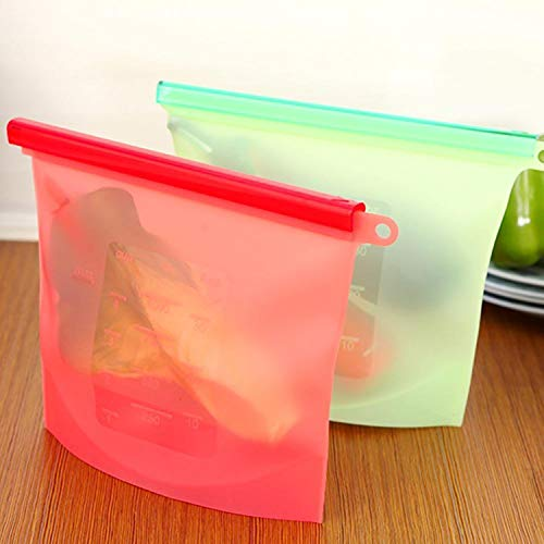 Berry Collection Vacuum Food Sealer Bags Silicone Food Storage Container Refrigerator Bag Kitchen Colored Ziplock Bags (Pack of 2, Multicolor)