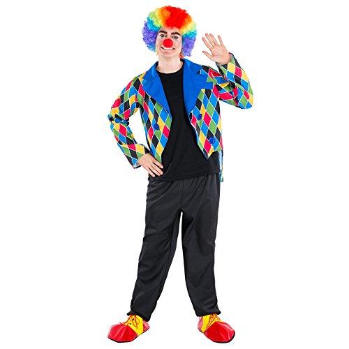 Gemeinsame Kostüme Halloween Mädchen (Herrenkostüm Clown | schickes Kostüm mit Zierknöpfe | Harlekin Clown-Kostüm Fasching (L | Nr.)