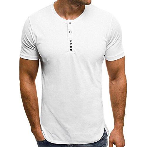 Styledresser maglietta uomo manica cotone premium classic, camicia da uomo tinta unita da colletto tondo con colletto tondo color(nero bianco blu)