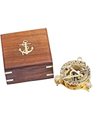 Solid Brass Captain's Triangle Sundial Compass w/ Rosewood Box 3""