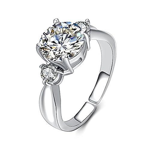 eManco Cubic Zirconia Rings Solitaire Anniversaire sans précision Simulated Diamond Open Promise Cuir bijoux cadeaux pour femmes