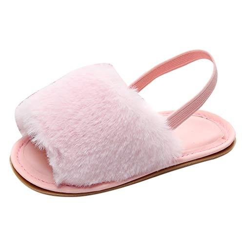 YU'TING ☀‿☀ Neonate Faux Fur Slide Sandali Fluffy Slippers con Cinturino Posteriore Soft Sole Aantiscivolo Scarpe da Bambino Prewalker