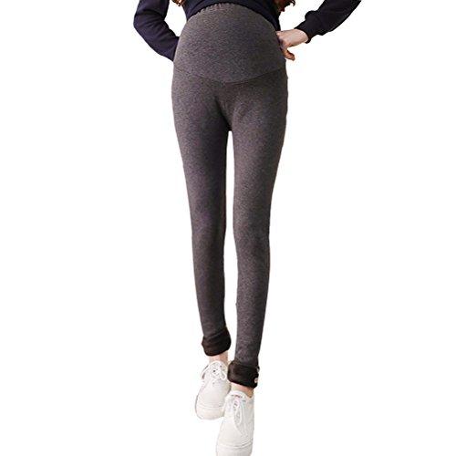Zhhlaixing Winter Cotton Maternité Warm Velvet Thick Slim Trouser Pregnant Pants Hot Dark Gray
