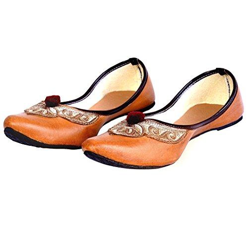 Indian Handicrafts Export Women Leather & Zari Work Brown Ballerina  Sandals(Size: 6 UK)