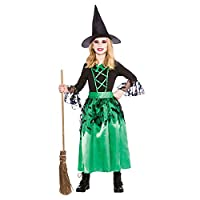 Green Bat Witch + Hat Girls Halloween Fancy Dress Kids Spellcaster Costume 3-15
