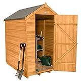 Forest Garden 6x4 Sicherheits-Gartenhaus, Satteldach, mit überlappender Holzkonstruktion, druckbehandelt