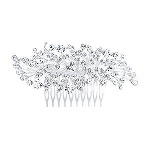 Ever Faith Damen Haarkamm Kristall Vintage Blume Hochzeit Braut Haar Kamm Schmuck Klar Silber-Ton