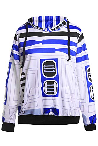 Star Wars: The Force Awakens BB8 Roboter Robot Sweatshirt Anime Unisex Lange Ärmel Kapuzenpullover Jacke Blau XXL