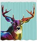Abakuhaus Hirsch Duschvorhang, Retro Low Poly Deer, Digital auf Stoff Bedruckt inkl.12 Haken Farbfest Wasser Bakterie Resistent, 175 x 180 cm, Multi