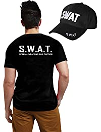 ADULT SWAT TEAM T-SHIRT & CAP SET KIT FANCY DRESS COSTUME POLICE FBI TACTICAL MILITARY (Men: Small) by Wicked Fun
