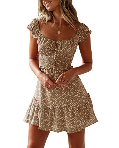 Ybenlover Damen Blumen Sommerkleid High Waist Volant Kleid Vintage Minikleid Strandkleid (M, Khaki) (Sexy Party-kleider)