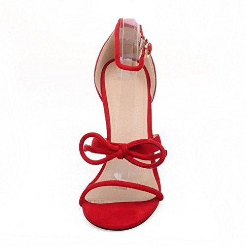 TAOFFEN Femmes Mode Bout Ouvert Sandales Aiguille Talons Hauts Ete Chaussures De Bowknot Rouge