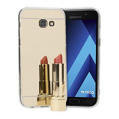 NALIA Spiegel Hülle kompatibel mit Samsung Galaxy A5 2017, Ultra-Slim Mirror Case Cover Silikon Schutzhülle, Dünne Handyhülle Backcover verspiegelt, Handy-Tasche Smart-Phone Etui, Farbe:Gold A517 Case Cover