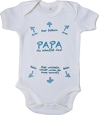Baby Body Strampler aus 100% Baumwolle ÖKO-TEX® | Geschenk zur Geburt | Neugeborene | mit Aufdruck - Papa du schaffst das ! (66-76 cm, Blau)