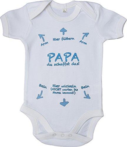 aus 100% Baumwolle ÖKO-TEX® | Geschenk zur Geburt | Neugeborene | mit Aufdruck - Papa du schaffst das ! Blau 60-66 cm (Elmo-mädchen-kleidung)