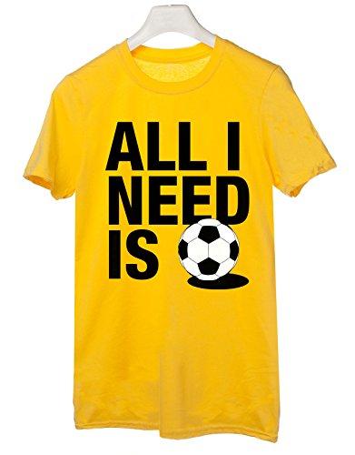 Tshirt all i need is - calcio - football - sport - Tutte le taglie by tshirteria Giallo