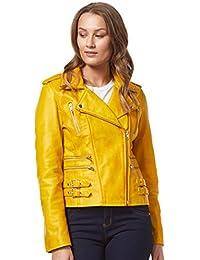 'MYSTIQUE' 7113 Señoras amarillo Biker estilo moto diseñador Nappa chaqueta de cuero