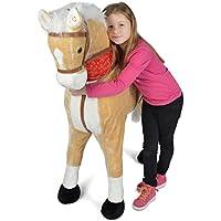 Pink Papaya Giant Riesen XXL Kinderpferd, 125 cm Plüsch-Pferd Zum Reiten, Fast Lebensgroßes Spielzeug Stehpferd Zum Drauf sitzen, bis 100kg belastbar, mit Verschiedenen Sounds, inkl. Kleiner Bürste