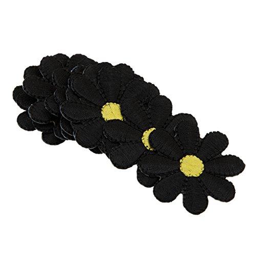 10 Stück Stickapplikationen Blumenbeet (Schwarz)