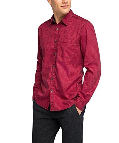 edc by Esprit 105CC2F015 Aop Shirt-Camicia Uomo,    rosso XS