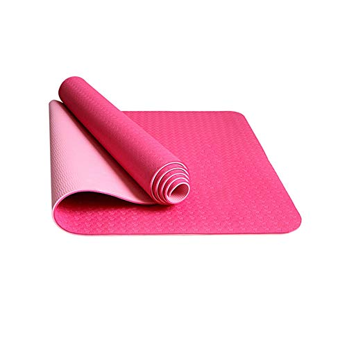 HIAO Antideslizante Estera de Yoga Yoga-Trainingsgeräte 8-cm-Fußboden-Set EIN langlebiger Körper Durable Ligero Los deportiert Fitness-Doppeltrace mit 66 cm Länge (Farbe : Rosa)
