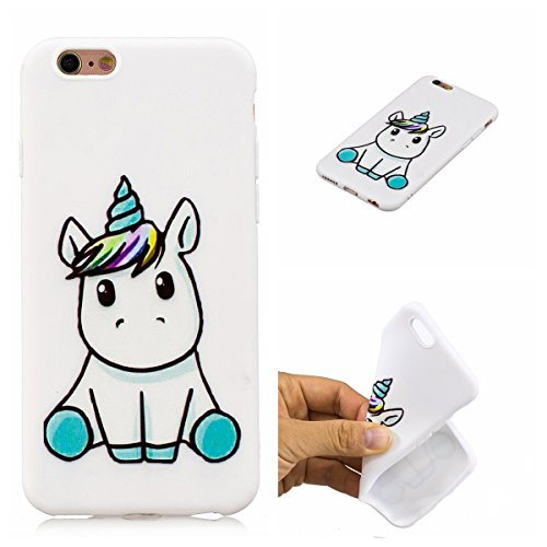 E-Mandala Cover Custodia Apple iPhone 6S 6Bianco Unicorno Silicone UltraSlimTPU GommaMorbidaBumperCaseProtective Antiurto