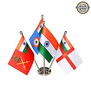 The Flag Shop TFS-MGF-PN-SS-IAF Indian Group Table Flags , Multicolour, Stainless Steel- Pack of 3