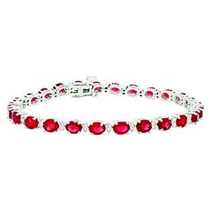 Bracelet rubis réel Mytreasurez de diamants, 10.27 cts en or blanc 14 carats