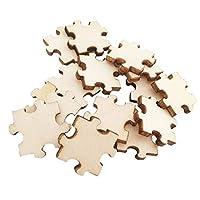 Barlingrock 52pcs Wood Puzzle Embellishment Wooden Shape Craft Wedding Decor for Kids DIY Crafts(Natural Wood Color)