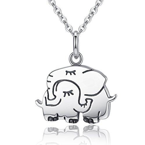 Lily Jewelry - Collar con colgante de elefantes y mamá y bebé...