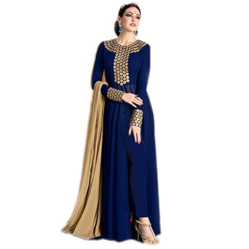 Vaankosh Fashion Women\'s Blue Georgette Designer And Bollywood Style Salwar Suits PartyWear Dress Materials