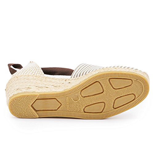 "VISCATA Escala 2.5"" Heel, Soft Ankle-Tie, Closed Toe, Classic Espadrilles Heel Made in Spain Beige - Beige White"