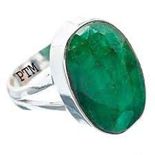 PTM Certified Natural 3.25 Ratti or 2.96 Carat Emerald (Panna) Astrological Gemstone Sterling Silver Ring