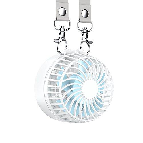 EasyAcc Mini Ventilator Halskette Lüfter Handventilator Personal Fan Faltbar mit 6-18 STD. 2600 mAh aufladbarer Batterie 3 Einstellbare Geschwindigkeiten für Innen und Reisen Außenbereich – Weiß