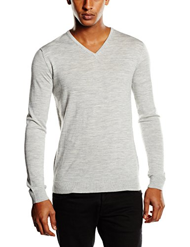 SELECTED HOMME Shdtower Merino V-neck Noos-Maglione  uomo,    Grigio (Light Grey Melange) M