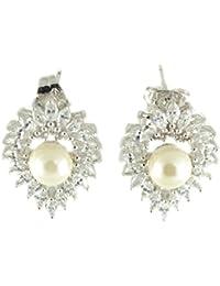 Galaxy fabricado de joyas con piedras de Swarovski o cama de matrimonio Juego de pendientes de Pearl en 18ct blanco acabado dorado
