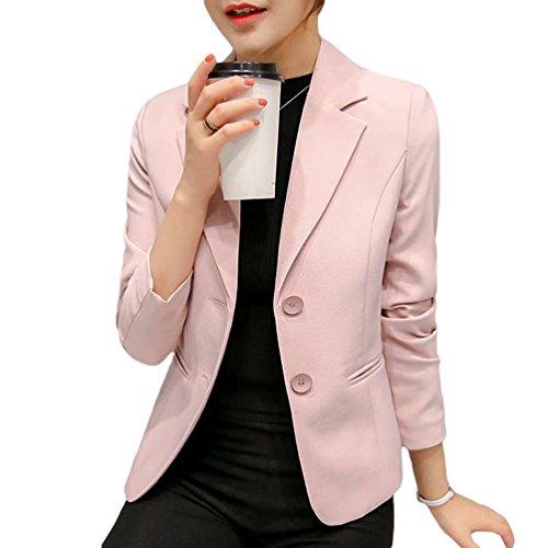YiLianDa Mujer Blazer Chaqueta Manga Larga Traje Slim Fit Elegante Oficina Rosa XL